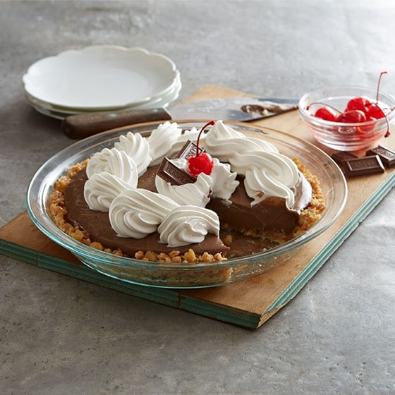 Chocolate pie on cutting board